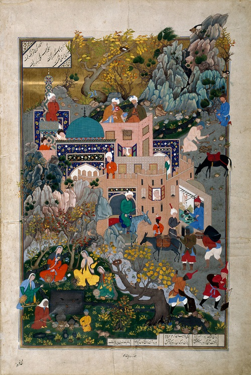 A folio from Shahnameh of Shah Tahmasp depicting the story of Haftvad and the worm. Photo and caption credit: Aga Khan Museum, Toronto, Canada. Copyright.