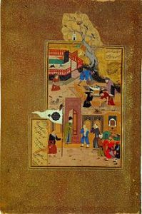 A miniature painting by Bihzad illustrating the funeral of the elderly Attar of Nishapur after he was held captive and killed by a . Mongol invader. Photo: Wikipedia.