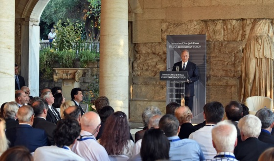 His Highness the Aga Khan speaking at the Stoa of Attalos in Athens where he delivered a Keynote Address at the Athens Democracy Forum on the International Day of Democracy. Photo: AKDN / Gary Otte