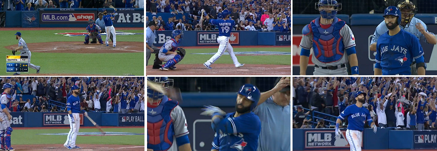 Iconic moments of the game. Jose Bautista's home run, his stare at the pitcher and the tossing of the bat. Please click on image to view a video clip at the website of MLB.com.