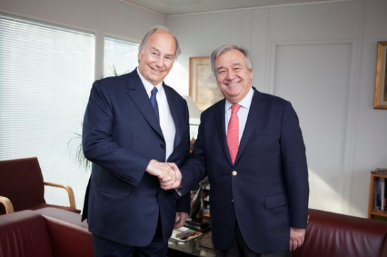 His Highness the Aga Khan with UNHCR chief Antonio Guterres at UNHCR Headquarters. Photo: The Ismaili.