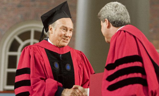 His Highness the Aga Khan receives an Honorary Doctor of Laws degree from Harvard University at commencement ceremonies June 5, 2008, in Cambridge, Massachusetts. Photo: AKDN.