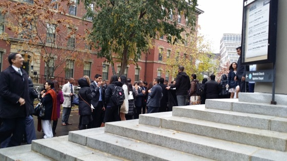 Ticket holders line up to listen to His Highness the Aga Khan at Harvard University on November 12, 2015. Photo: Azeem Maherali.