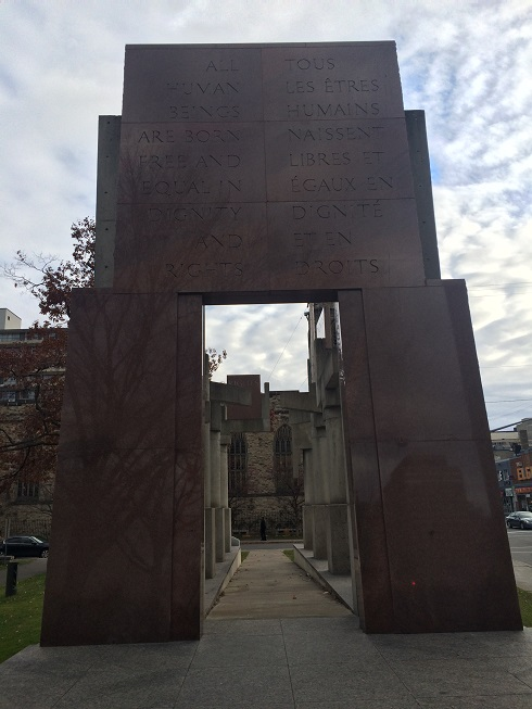 The Canadian Tribute to Human Rights Monument in the Nelson Mandela Square on Elgin Street in Ottawa. It bears an inscription from the 1st article of the Universal Declaration of Human Riights which states that All human beings are born free and equal in dignity and rights.