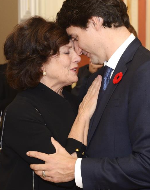 Justin Trudeau has a special moment with his mother, Mrs. Margaret Trudeau, before the searing in ceremony. Photo: Sgt. Ronald Duchesne, Rideau Hall.
