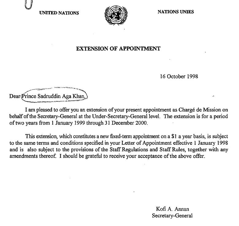 Prince Sadruddin Aga Khan Extension of Appointment