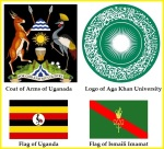Coat of Arms Uganda, AKU Logo, Flags Uganada and Ismaili Imamat