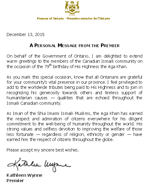 Premier of Ontario Kathleen Wynne Aga Khan Message