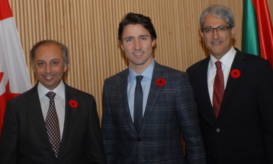 Prime Minister Justin Trudeau with AKDN Representative Dr. Mahmoud Eboo (left) and the President of the Aga Khan Ismaili Council for Canada, Malik Talib, at the Delegation of the Ismaili Imamat in Ottawa on November 3, 2015, the day before he was sworn in as the Prime Minister. Photo: The Ismaili.