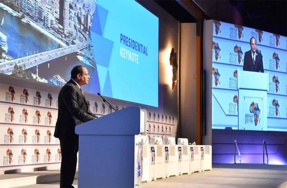 Egyptian President Abdel-Fattah El-Sisi delivers his speech during the opening session of the African international business forum in the Red Sea resort of Sharm El-Sheikh in the South Sinai governorate of Egypt, 20 February 2016. Photo Credit: The Egyptian presidency.