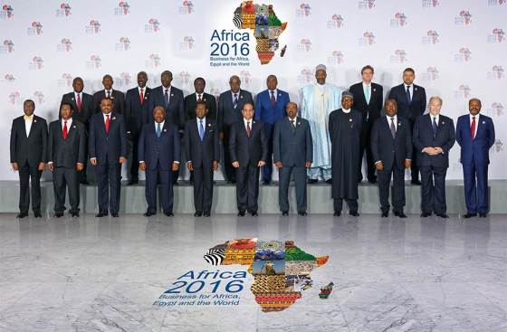 Egyptian President Abdel Fattah al-Sisi (C) takes a memorial photo with other heads of state and government and the participating delegations during the Africa 2016 Business for Africa, Egypt and the World Forum in the Red Sea resort of Sharm el-Sheikh, Egypt, February 20, 2016. His Highness the Aga Khan is pictured second from right in the front row. The 49th Ismaili Imam will be giving a key note speech at the forum on Sunday, February 21, 2016 at approximately 9:00 am (Cairo Time). Photo Credit: The Egyptian Presidency.