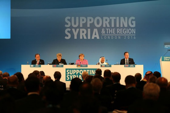 """The leaders of Germany, Kuwait, Norway, the United Kingdom and the United Nations who hosted the """"Supporting Syria & the Region 2016"""" Conference in London on February 4, 2016. The meeting brought together over 60 countries."""