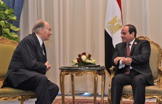 Mawlana Hazar Imam, His Highness the Aga Khan, pictured with Egypt's President al-Sisi on February 20, 2016. Photo Credit: The Egyptian Presidency.