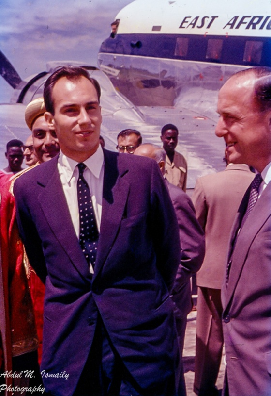 "Mawlana Hazar Imam, His Highness the Aga Khan, arriving at Kampala's Entebbe Airport. Photo: Abdul M. Ismaily (""Papa Jaan""). Copyright,"