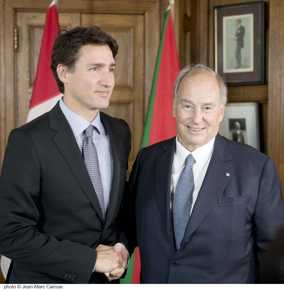 His Highness the Aga Khan and Prime Minister Justin Trudeau picture on Tuesday, May 17, 2016, at the Office of the Prime Minister located at the Centre Block of Parliament Hill in Ottawa. Photo: Jean-Marc Carisee. Copyright.