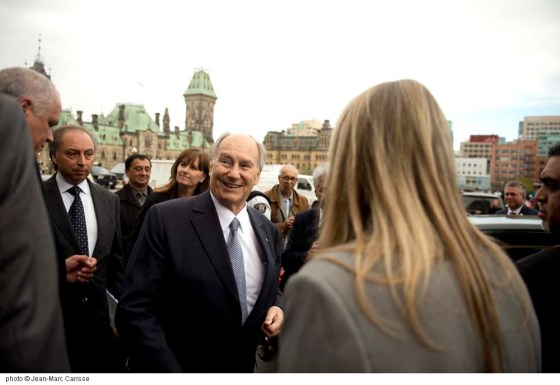 His Highness the Aga Khan outside the Parliament Building just before his departure after his meeting with Prime Minister Justin Trudeau on Tuesday, May 17, 2016. Photo: Jean-Marc Carisse. Copyright.