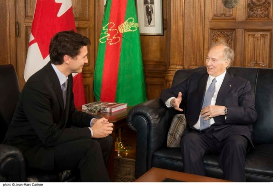 His Highness the Aga Khan and Prime Minister Trudeau are seen engaged in a warm conversation during their meeting at Parliament Hill in Ottawa on Tuesday, May 17, 2016. Photo: Jean-Marc Carisse. Copyright.