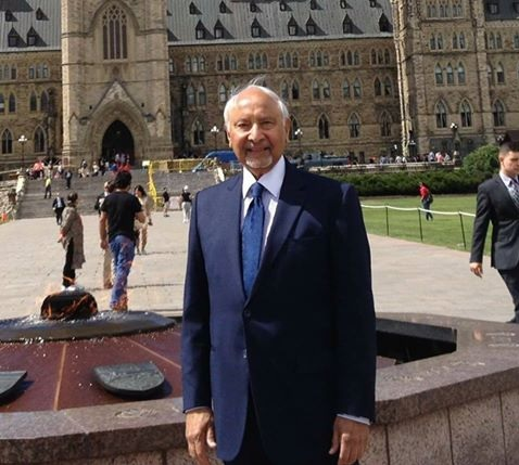 John Nuraney (October 31, 1937 - November 21, 2016) by the Centennial Flame at the Lawn of the Parliament Building in Ottawa. Photo: Facebook page.