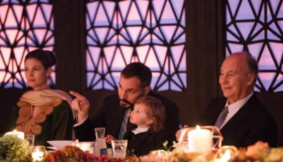 Mawlana Hazar Imam, Prince Rahim with Prince Irfan, and Princess Salwa at the 80th birthday celebration. Photo: The Ismaili/Zahur Ramji.