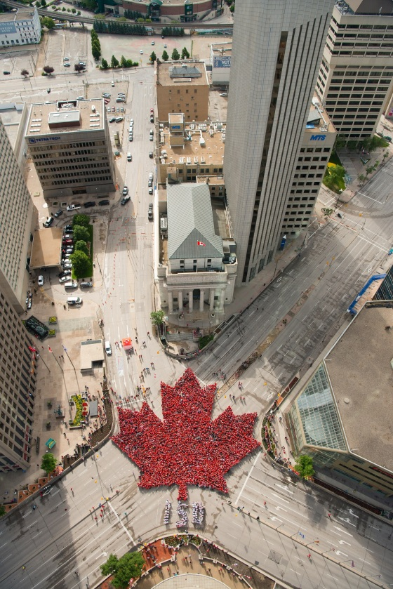 150th Canada Day Winnipeg Largest Living Maple Leaf 2s