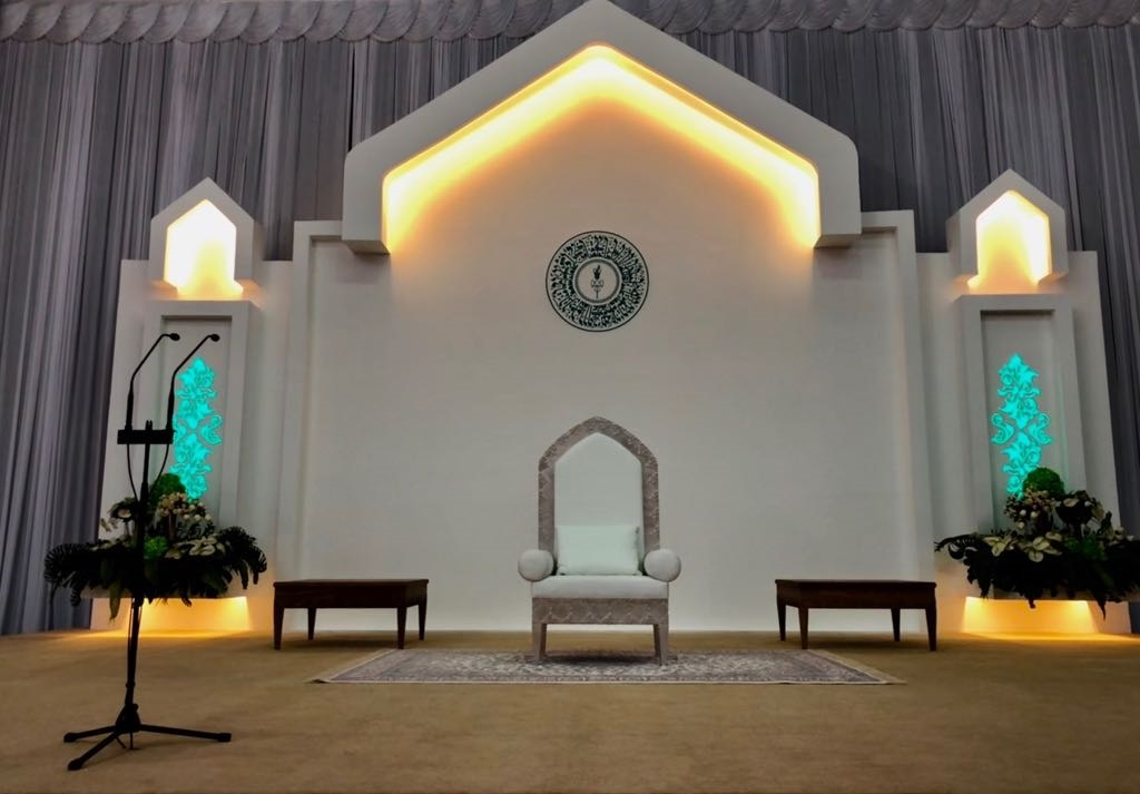 Aga Khan Mawlana Hazar Imam Nairobi Darbar Stage cropped