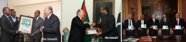 Presentation of commemorative philatelic objects to His Highness the Aga Khan