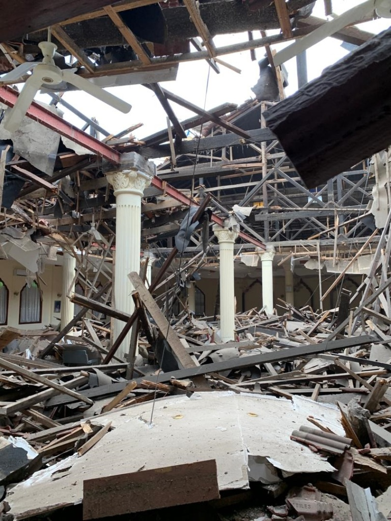 Interior damage following roof collapse of Dar es Salaam's Ismaili Darkhana Jamatkhana