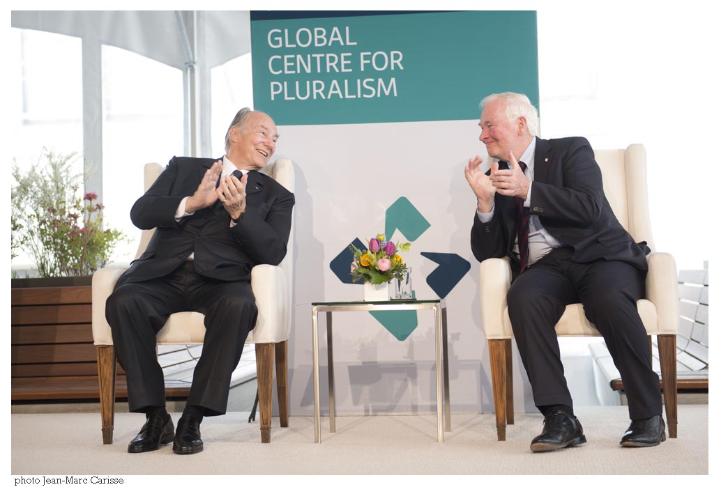 His Highness the Aga Khan and His Excellency David Johnston at the opening of the Global Centre for Pluralism