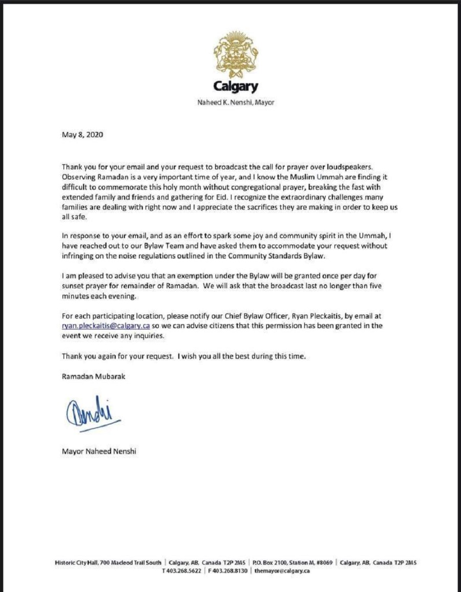 Mayor Nahid Nenshi's for the Islamic Adhan Adhan