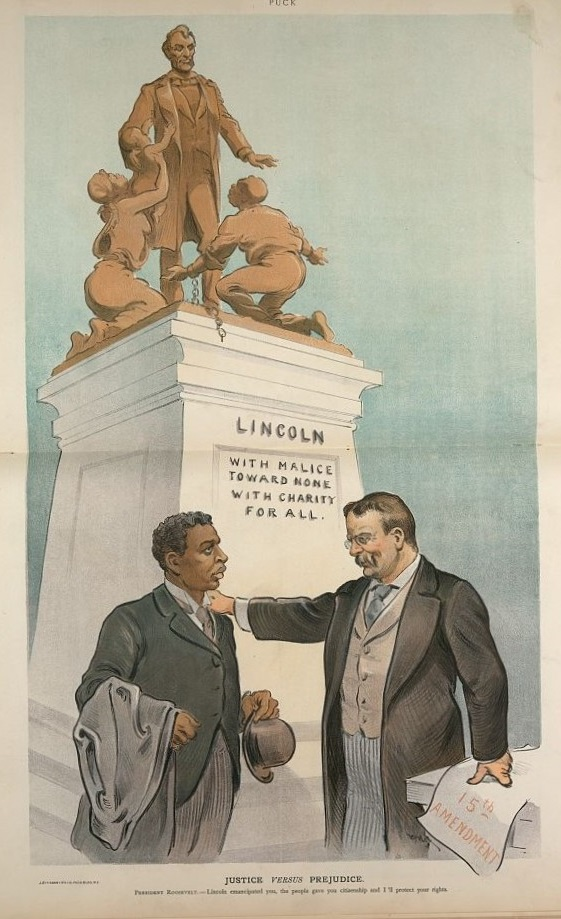 "Caption in this illustration by Udo J. Keppler reads: ""President Roosevelt: Lincoln emancipated you, the people gave you citizenship and I'll protect your rights."""