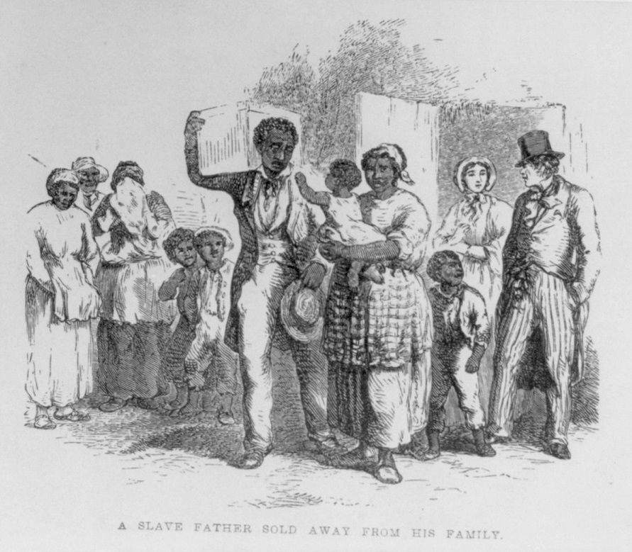 "A frontispiece illustration in ""The Child's Anti-Slavery Book…, New York, [1860], showing an African-American slave father leaving his family as he is sold away from his family. Photo: US Library of Congress. Reproduced in Simerg."