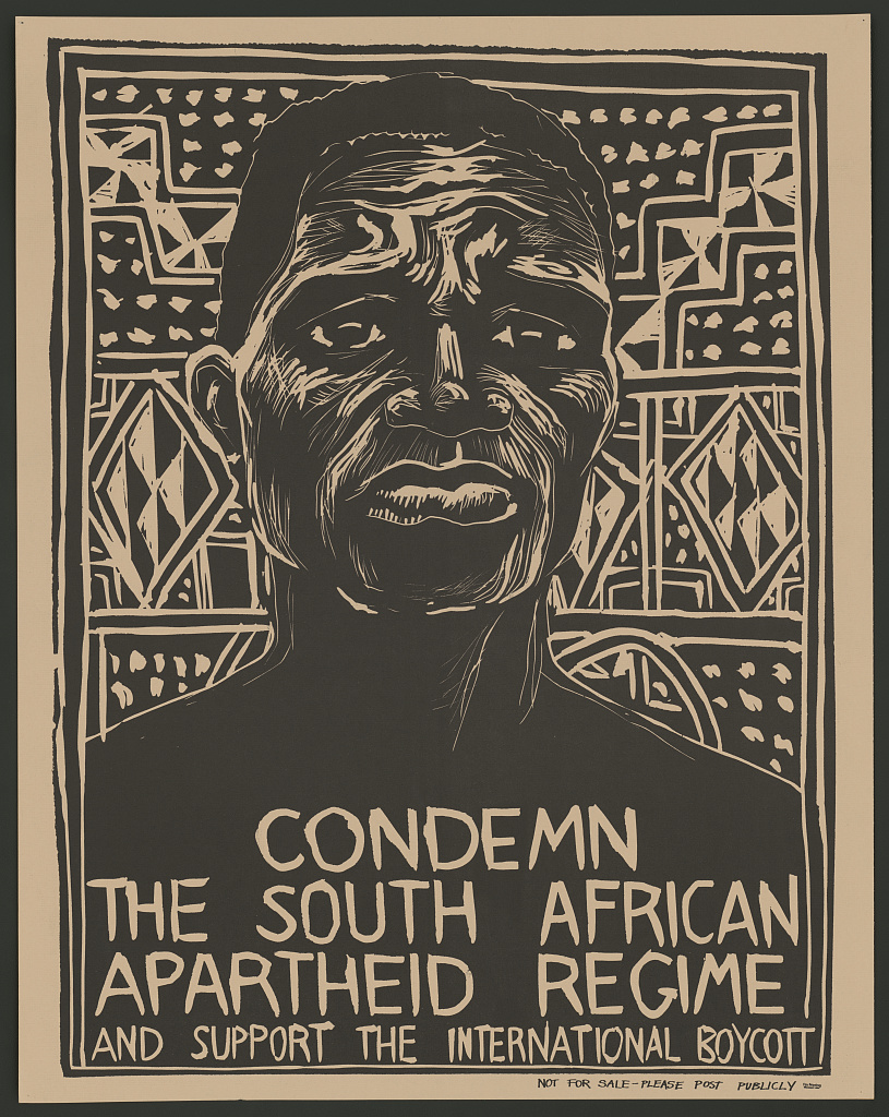 A poster in the collection of US Library of Congress condemning the South African apartheid policies, reproduced in Simerg