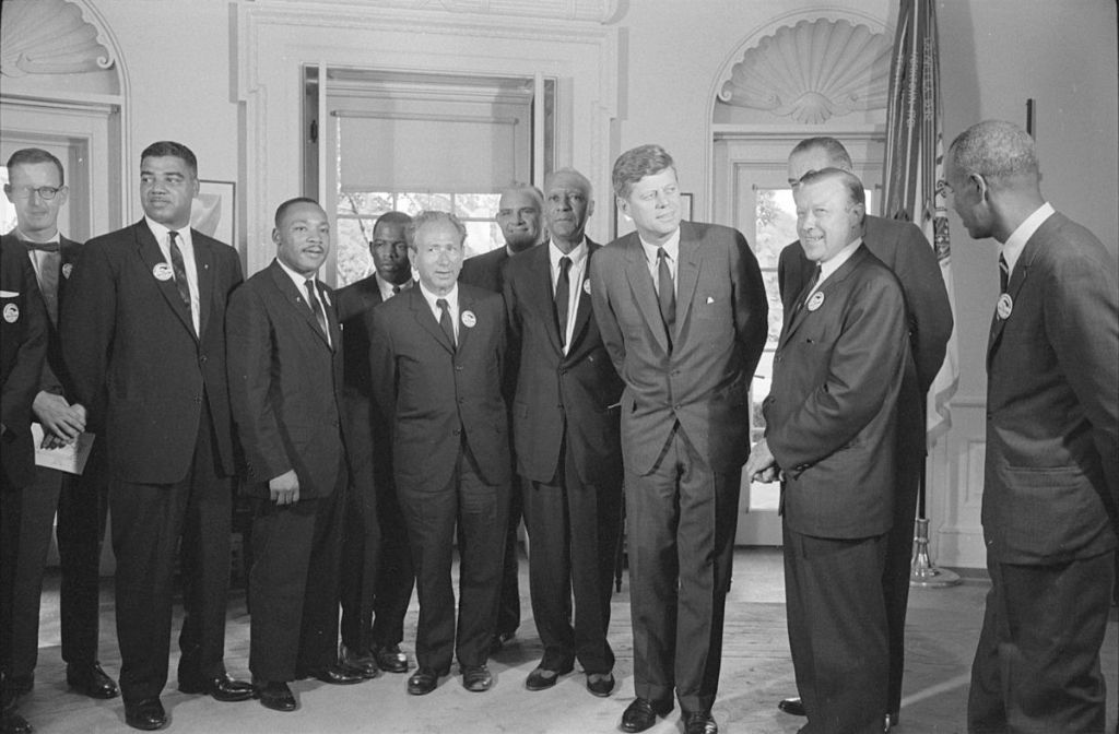 President Kennedy with Civil Rights Leaders after March on Washington on August 28, 2963. Simerg,Library of Congress