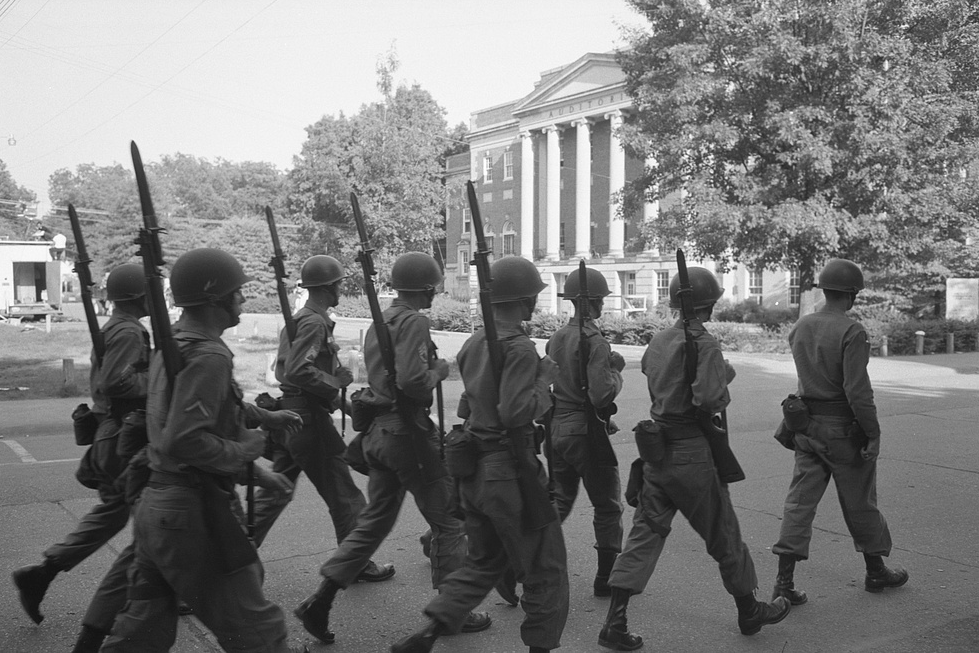 Federalized National Guard troops on the campus of the University of Alabama, June 11, 1963 when African Americans Vivian Malone and James Hood registered for classes. Simerg photo via LOC.