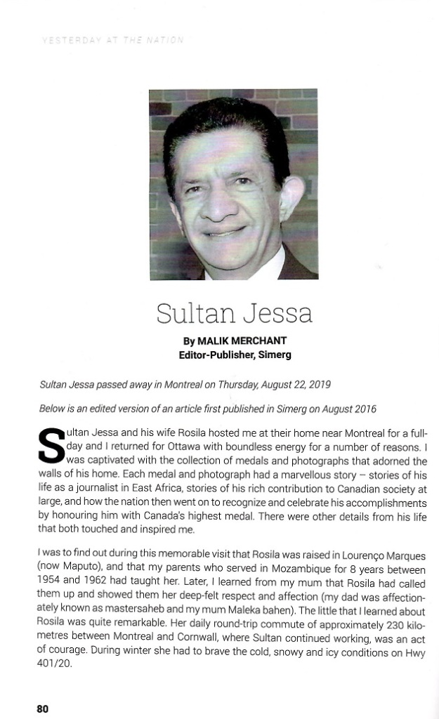 The Daily Nation 60th anniversary souvenir edition by Cyprian Fernandes profile of Sultan Jessa