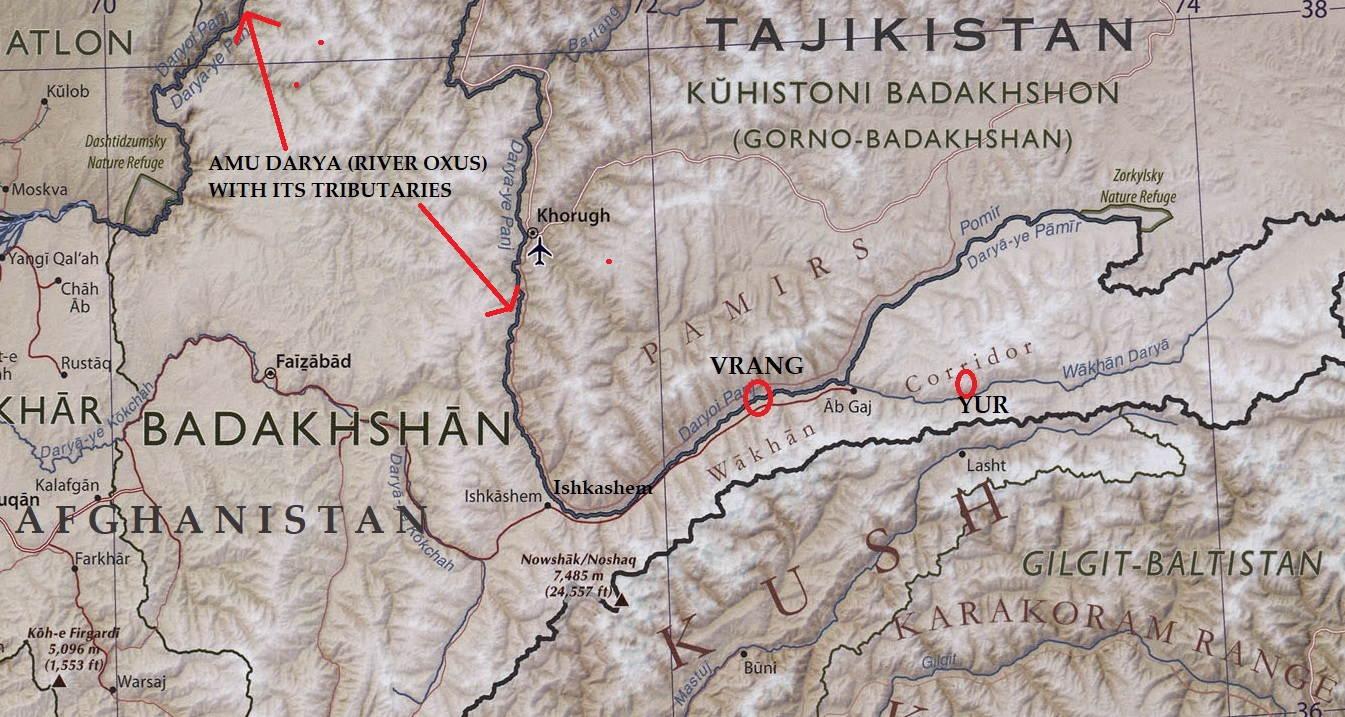 Annotated map of the Wakhan Corridor