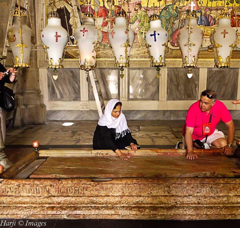 Stone of Anointing Jerusalem Easter Muslim Harji Simerg and Simergphotos