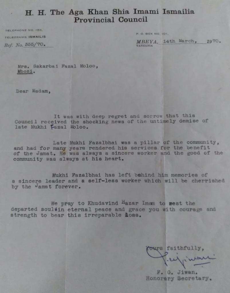 Aga Khan Counci, Mbeya Tanzania letter for Fazal Moloo.