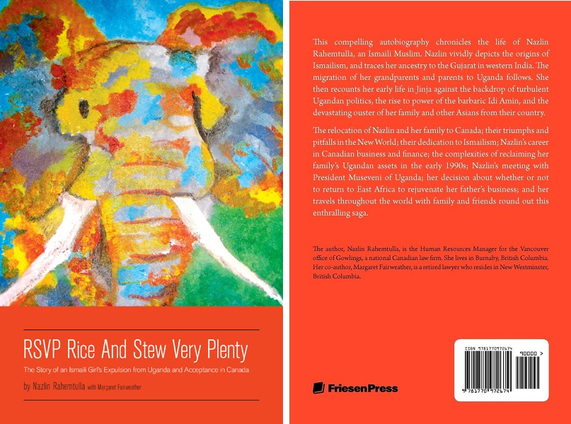 """Front and back covers of Nazlin Rahemtulla's autobiography """"RSVP Rice and Stew Very Plenty, Simerg Ismaili Author Series"""