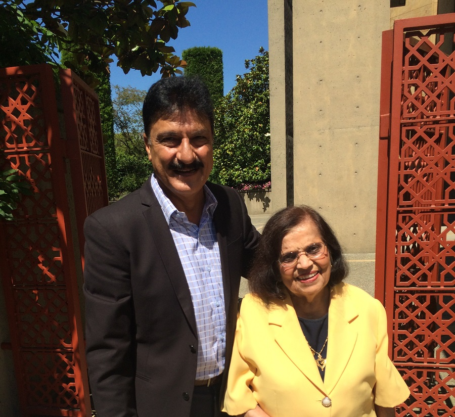 Mrs. Merchant at Ismaili Centre Vancouver with neighbour Nazim Rawji