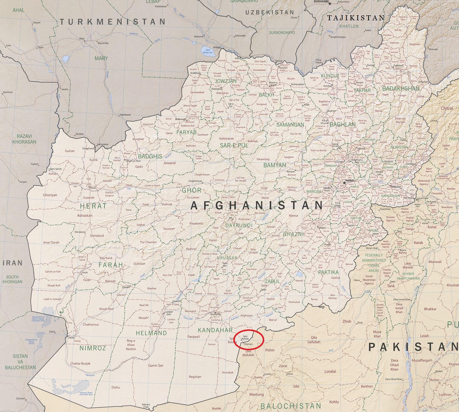 Afghanistan Map, Spin Boldak